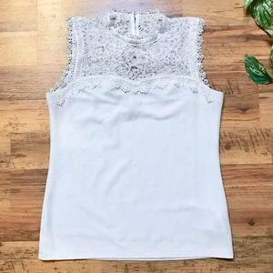 H&M White Lace Illusion Tank Top